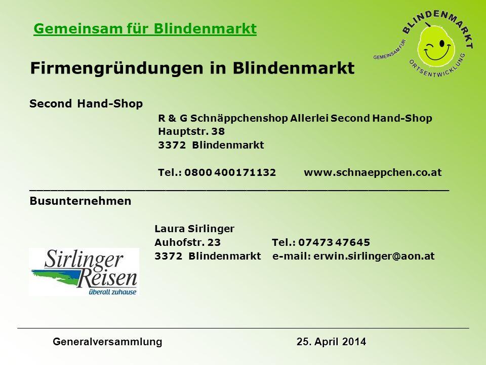 Gemeinsam für Blindenmarkt Firmengründungen in Blindenmarkt Second Hand-Shop R & G Schnäppchenshop Allerlei Second Hand-Shop Hauptstr.