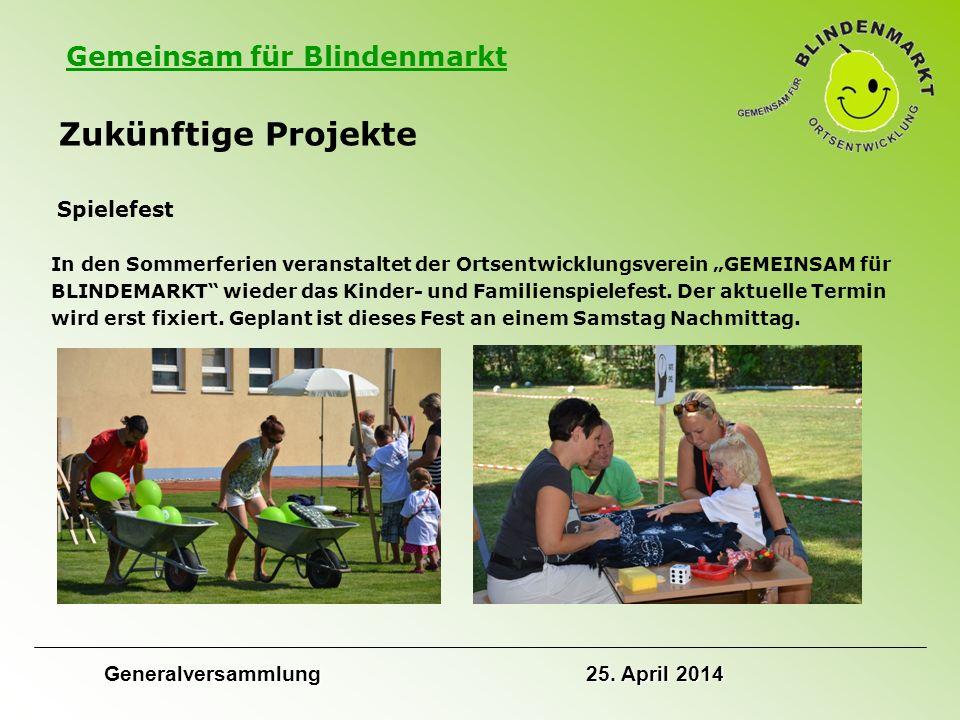"""Gemeinsam für Blindenmarkt Zukünftige Projekte Spielefest In den Sommerferien veranstaltet der Ortsentwicklungsverein """"GEMEINSAM für BLINDEMARKT wieder das Kinder- und Familienspielefest."""