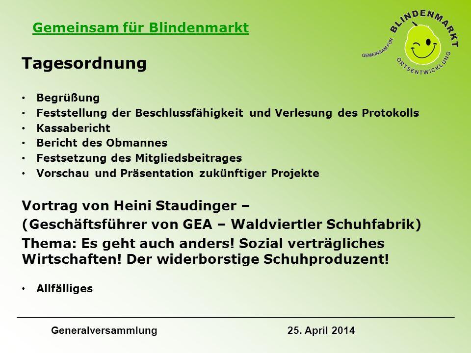 Gemeinsam für Blindenmarkt Protokoll der letzten Generalversammlung Verlesung des Protokolls der letzten Generalversammlung vom 12.
