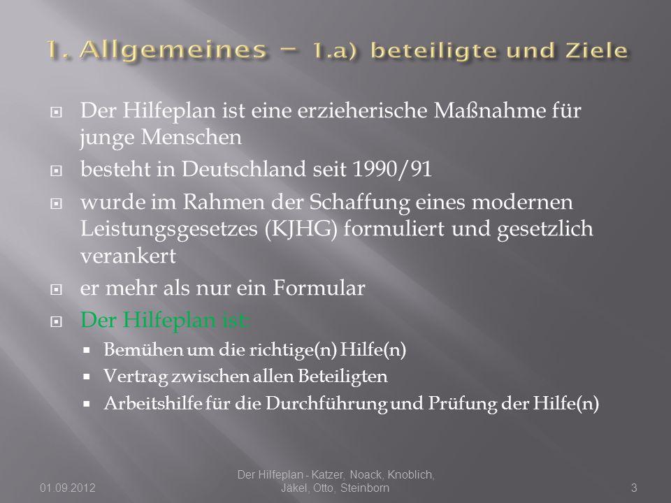  Der Hilfeplan ist eine erzieherische Maßnahme für junge Menschen  besteht in Deutschland seit 1990/91  wurde im Rahmen der Schaffung eines modernen Leistungsgesetzes (KJHG) formuliert und gesetzlich verankert  er mehr als nur ein Formular  Der Hilfeplan ist:  Bemühen um die richtige(n) Hilfe(n)  Vertrag zwischen allen Beteiligten  Arbeitshilfe für die Durchführung und Prüfung der Hilfe(n) 01.09.2012 Der Hilfeplan - Katzer, Noack, Knoblich, Jäkel, Otto, Steinborn3