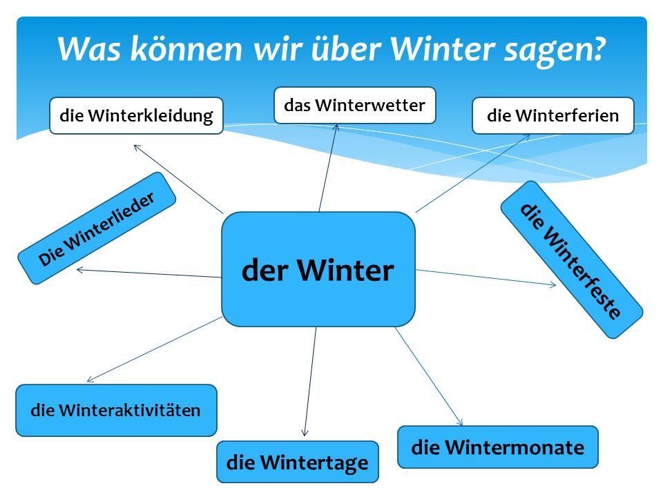 Was können wir über Winter sagen? der Winter die Winterferien die Wintermonate das Winterwetter die Winterfeste die Winteraktivitäten die Winterkleidu