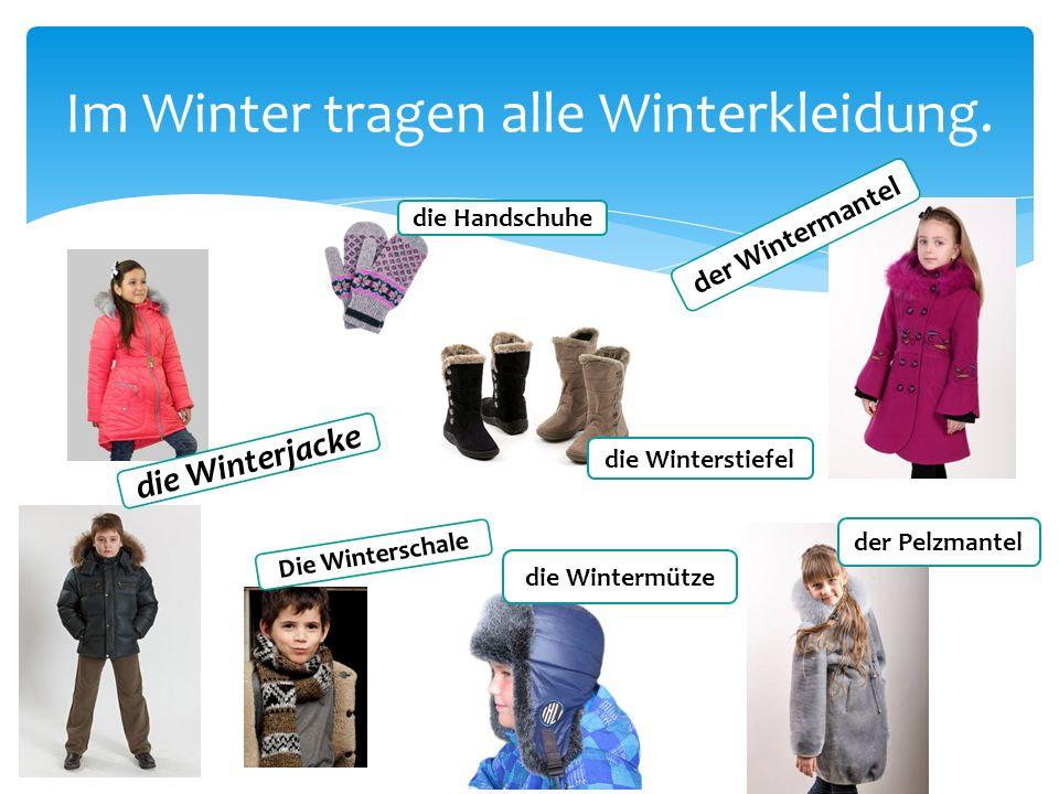 Im Winter tragen alle Winterkleidung. die Winterjacke die Wintermütze der Wintermantel die Winterstiefel der Pelzmantel die Handschuhe Die Winterschal
