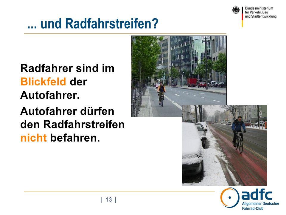 | 13 |... und Radfahrstreifen. Radfahrer sind im Blickfeld der Autofahrer.