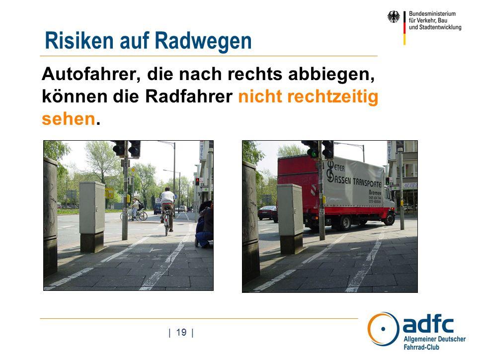 | 19 | Autofahrer, die nach rechts abbiegen, können die Radfahrer nicht rechtzeitig sehen.