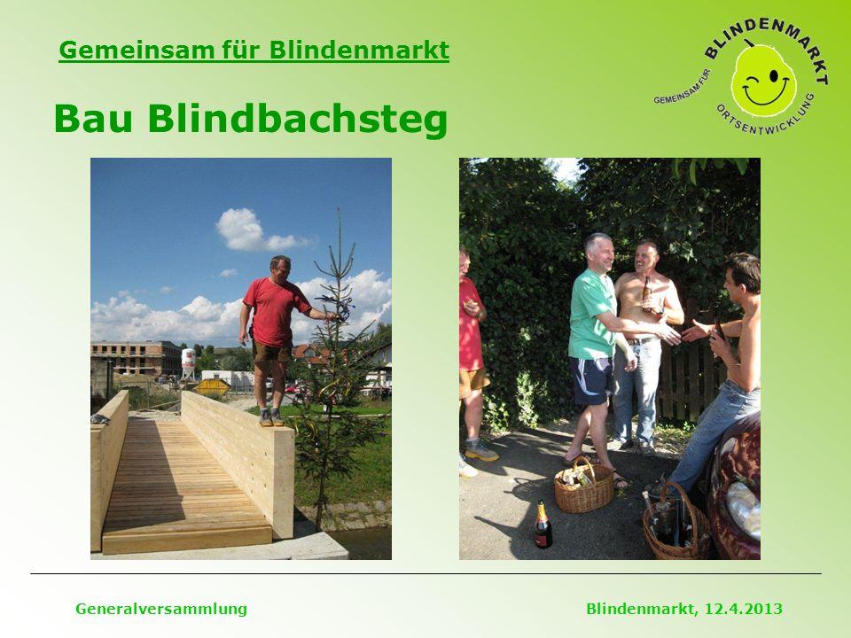 Gemeinsam für Blindenmarkt Bau Blindbachsteg Generalversammlung Blindenmarkt, 12.4.2013