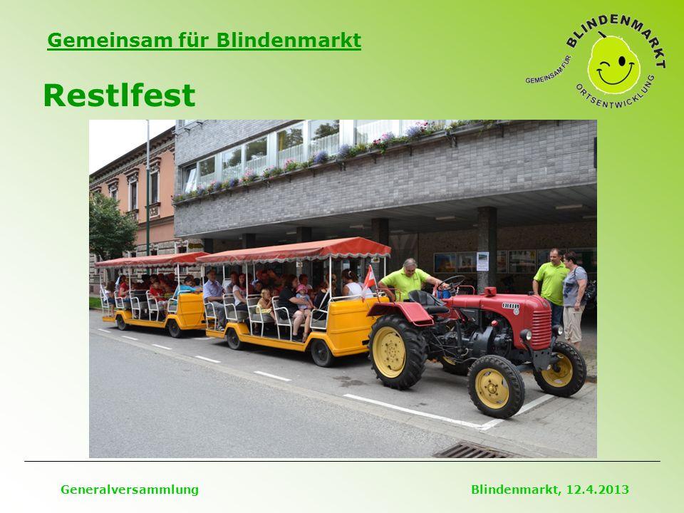 Gemeinsam für Blindenmarkt Restlfest Generalversammlung Blindenmarkt, 12.4.2013
