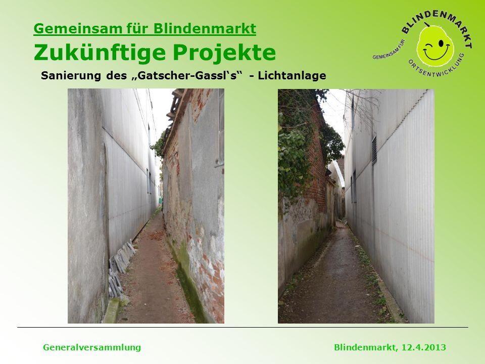 """Gemeinsam für Blindenmarkt Zukünftige Projekte Generalversammlung Blindenmarkt, 12.4.2013 Sanierung des """"Gatscher-Gassl's - Lichtanlage"""