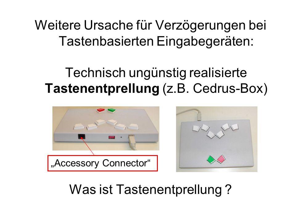 Weitere Ursache für Verzögerungen bei Tastenbasierten Eingabegeräten: Technisch ungünstig realisierte Tastenentprellung (z.B. Cedrus-Box) Was ist Tast