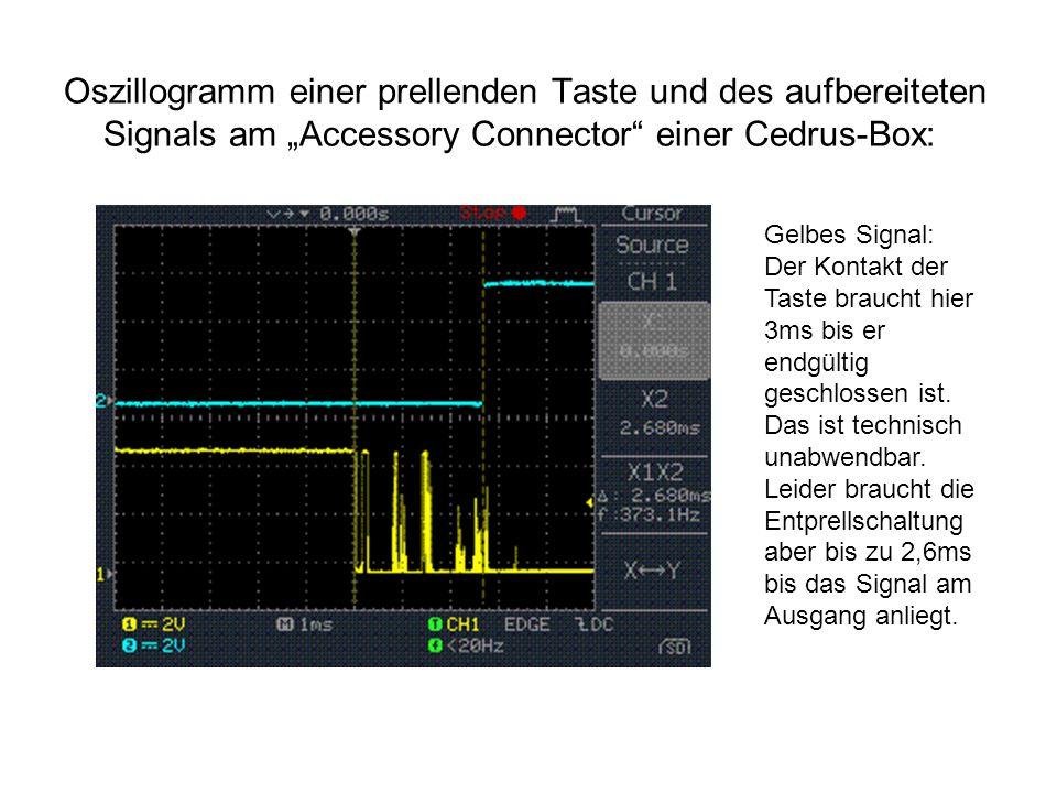 """Oszillogramm einer prellenden Taste und des aufbereiteten Signals am """"Accessory Connector"""" einer Cedrus-Box: Gelbes Signal: Der Kontakt der Taste brau"""