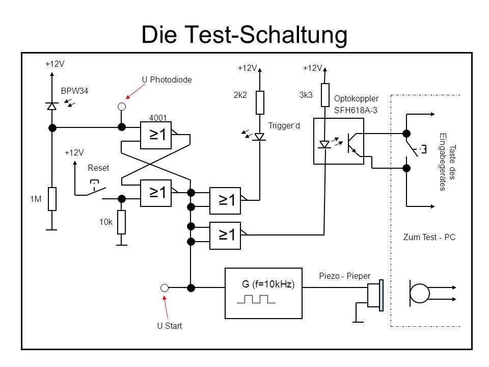 Die Test-Schaltung U Photodiode U Start Optokoppler ≥1 G (f=10kHz) Zum Test - PC Trigger'd 10k Reset BPW34 1M 2k23k3 SFH618A-3 +12V Taste des Eingabeg
