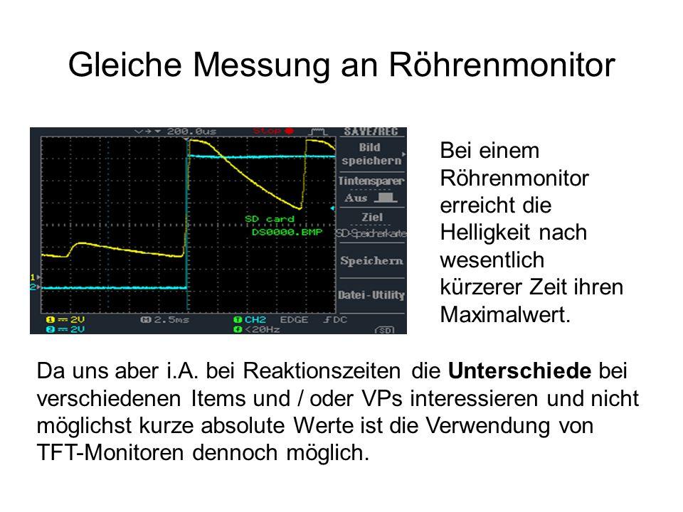 Gleiche Messung an Röhrenmonitor Bei einem Röhrenmonitor erreicht die Helligkeit nach wesentlich kürzerer Zeit ihren Maximalwert. Da uns aber i.A. bei