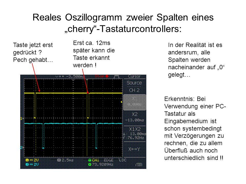 """Reales Oszillogramm zweier Spalten eines """"cherry""""-Tastaturcontrollers: In der Realität ist es andersrum, alle Spalten werden nacheinander auf """"0"""" gele"""