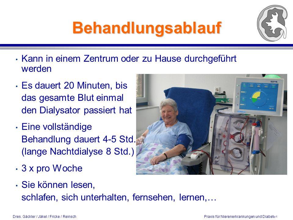 Dres. Gäckler / Jäkel / Fricke / Reinsch Praxis für Nierenerkrankungen und Diabetes Behandlungsablauf Kann in einem Zentrum oder zu Hause durchgeführt
