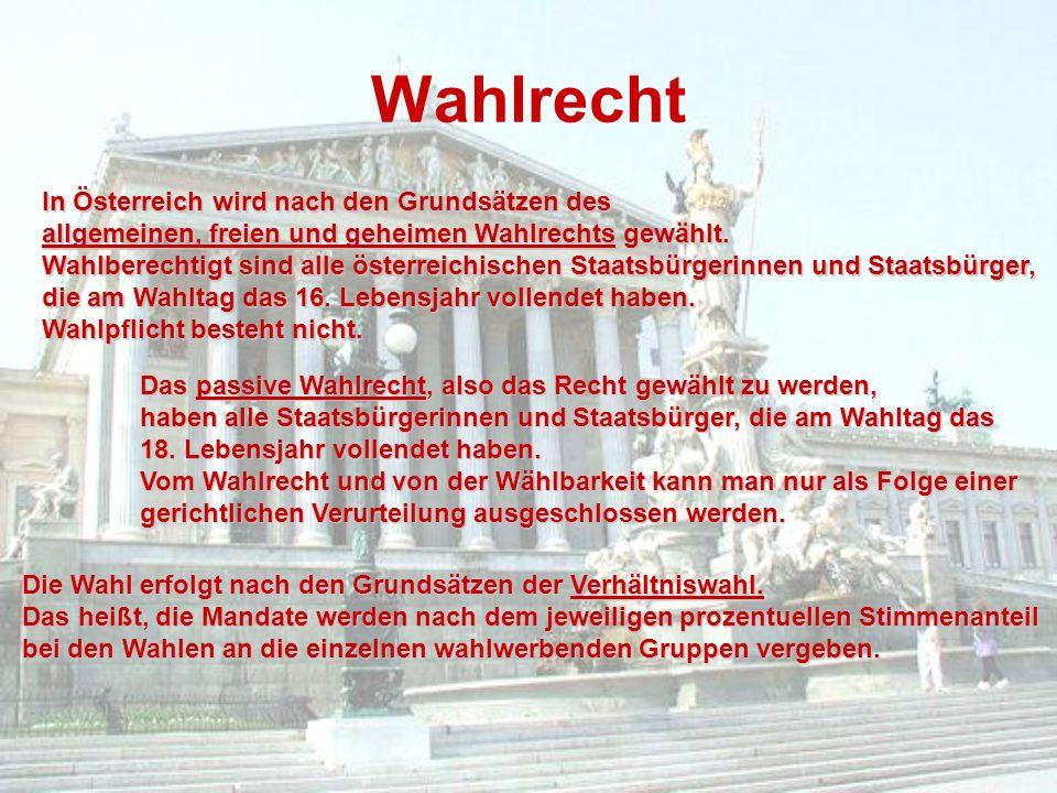 Wahlrecht In Österreich wird nach den Grundsätzen des allgemeinen, freien und geheimen Wahlrechts gewählt. Wahlberechtigt sind alle österreichischen S