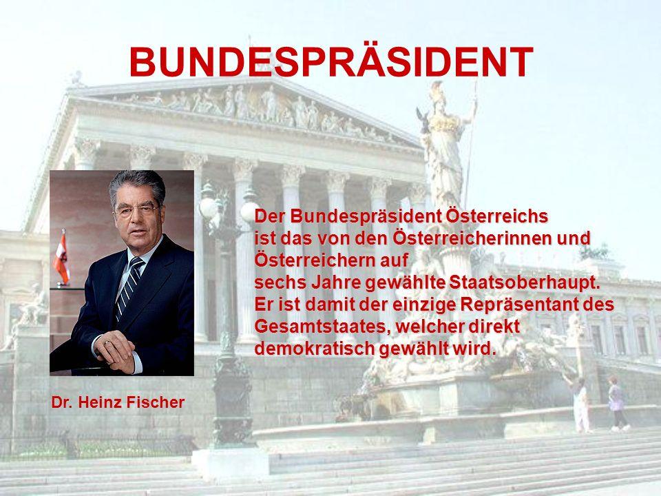 BUNDESPRÄSIDENT Dr. Heinz Fischer Der Bundespräsident Österreichs ist das von den Österreicherinnen und Österreichern auf sechs Jahre gewählte Staatso