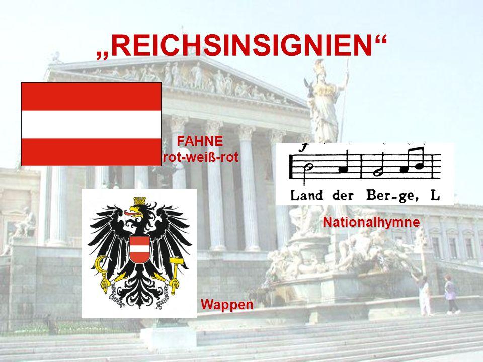 """""""REICHSINSIGNIEN"""" FAHNErot-weiß-rot Wappen Nationalhymne"""