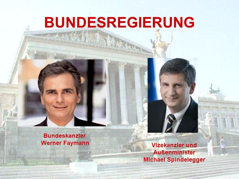 BUNDESREGIERUNG Bundeskanzler Werner Faymann Vizekanzler und Außenminister Michael Spindelegger