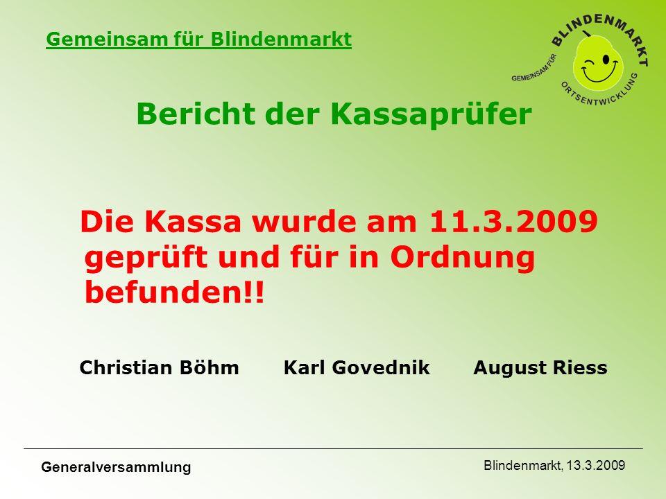 Gemeinsam für Blindenmarkt Generalversammlung Blindenmarkt, 13.3.2009 Bericht der Kassaprüfer Die Kassa wurde am 11.3.2009 geprüft und für in Ordnung befunden!.