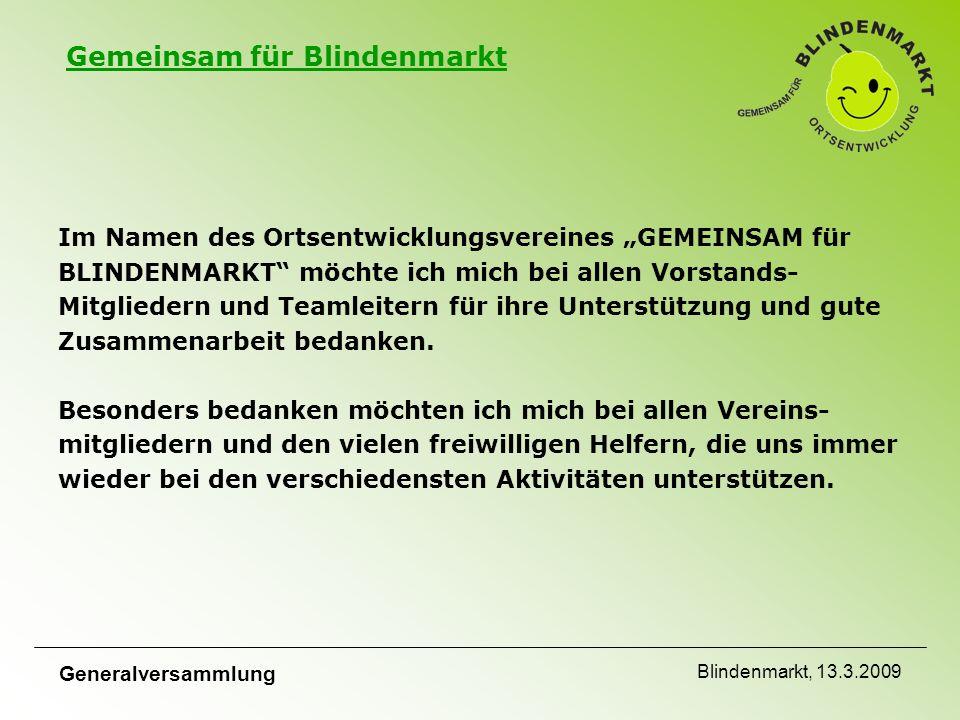 """Gemeinsam für Blindenmarkt Generalversammlung Blindenmarkt, 13.3.2009 Im Namen des Ortsentwicklungsvereines """"GEMEINSAM für BLINDENMARKT möchte ich mich bei allen Vorstands- Mitgliedern und Teamleitern für ihre Unterstützung und gute Zusammenarbeit bedanken."""