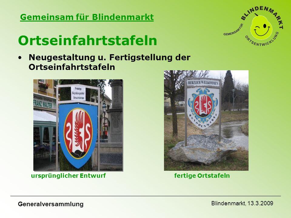 Gemeinsam für Blindenmarkt Generalversammlung Blindenmarkt, 13.3.2009 Ortseinfahrtstafeln Neugestaltung u.