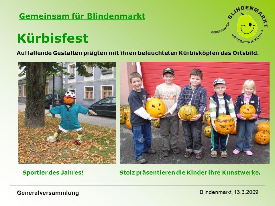 Gemeinsam für Blindenmarkt Generalversammlung Blindenmarkt, 13.3.2009 Kürbisfest Auffallende Gestalten prägten mit ihren beleuchteten Kürbisköpfen das Ortsbild.