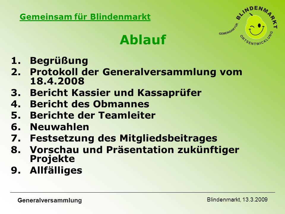 Gemeinsam für Blindenmarkt Generalversammlung Blindenmarkt, 13.3.2009 Mitgliedsbeitrag Laut Beschluss des Vorstandes wird der Antrag gestellt, die derzeitigen Staffelbeträge beizubehalten.