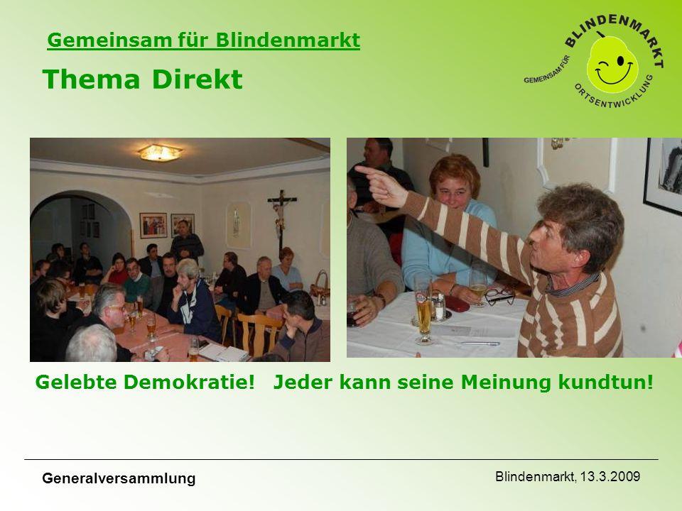 Gemeinsam für Blindenmarkt Generalversammlung Blindenmarkt, 13.3.2009 Thema Direkt Gelebte Demokratie.
