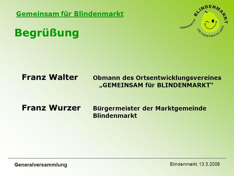 """Gemeinsam für Blindenmarkt Generalversammlung Blindenmarkt, 13.3.2009 Begrüßung Wir begrüßen alle Mitglieder und interessierten Mitbürger auf das Herzlichste bei der Generalversammlung von """"GEMEINSAM für Blindenmarkt"""