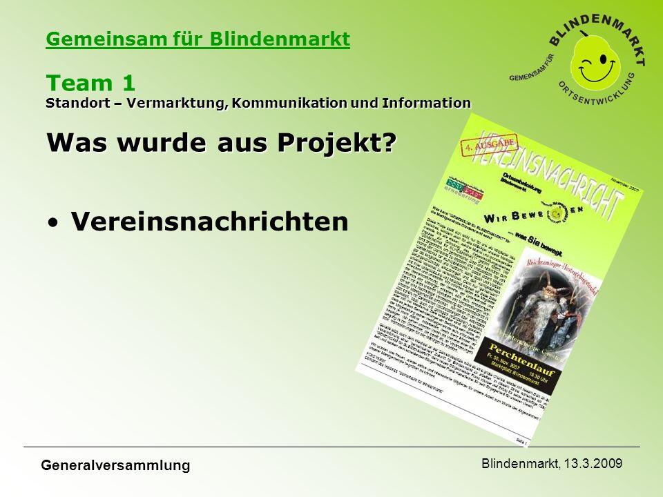 Gemeinsam für Blindenmarkt Generalversammlung Blindenmarkt, 13.3.2009 Standort – Vermarktung, Kommunikation und Information Was wurde aus Projekt.