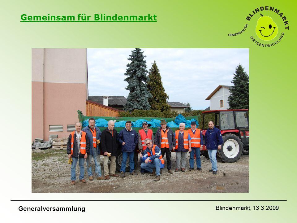 Gemeinsam für Blindenmarkt Generalversammlung Blindenmarkt, 13.3.2009