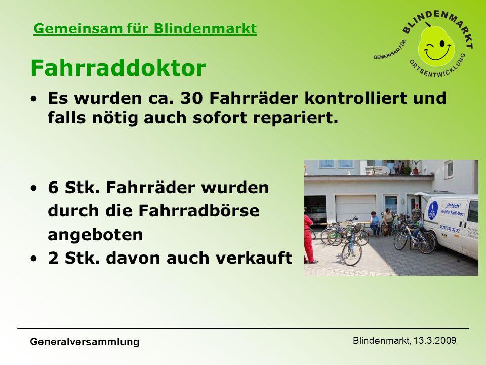 Gemeinsam für Blindenmarkt Generalversammlung Blindenmarkt, 13.3.2009 Fahrraddoktor Es wurden ca.