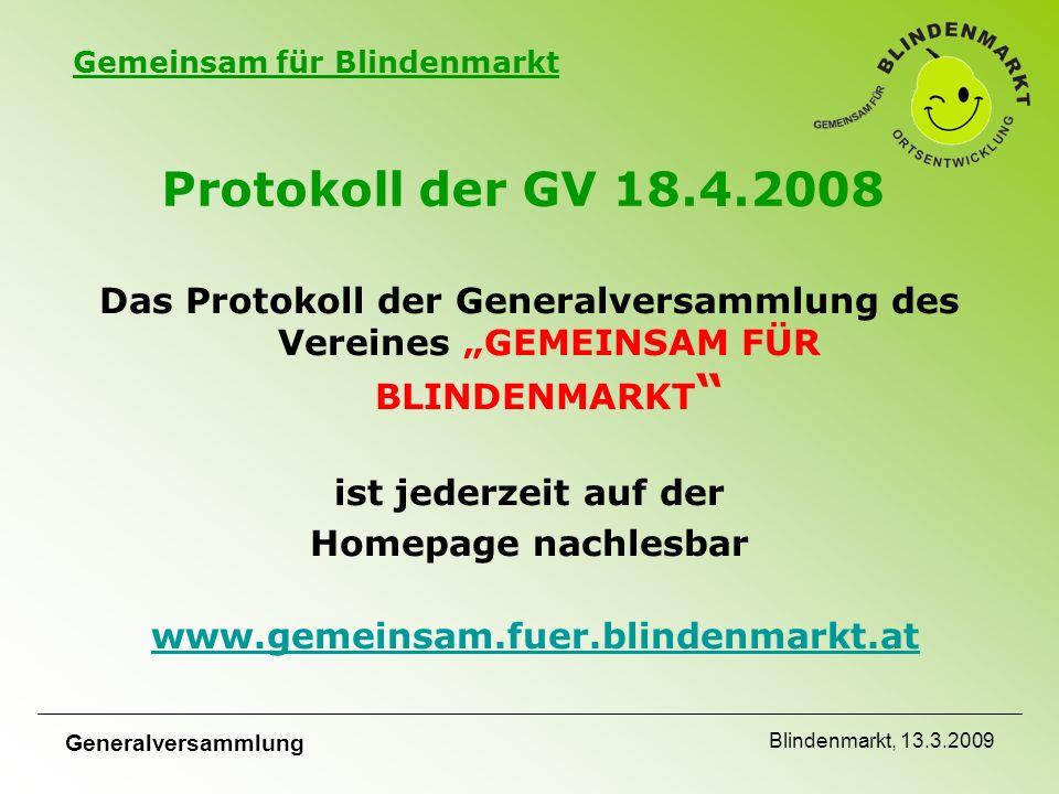 Gemeinsam für Blindenmarkt Generalversammlung Blindenmarkt, 13.3.2009 Bericht Team 2 Mit Unterstützung der zahlreichen freiwilligen Helfer und Mitarbeiter konnten die neuen Ortseinfahrtstafeln fertig gestellt werden.