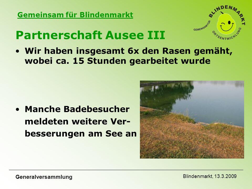 Gemeinsam für Blindenmarkt Generalversammlung Blindenmarkt, 13.3.2009 Partnerschaft Ausee III Wir haben insgesamt 6x den Rasen gemäht, wobei ca.
