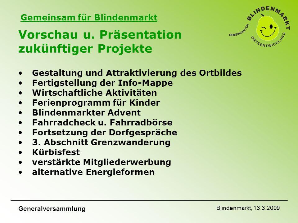 Gemeinsam für Blindenmarkt Generalversammlung Blindenmarkt, 13.3.2009 Vorschau u.