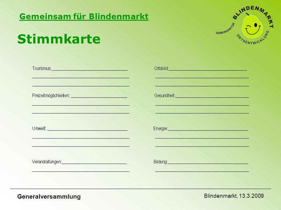 Gemeinsam für Blindenmarkt Generalversammlung Blindenmarkt, 13.3.2009 Stimmkarte