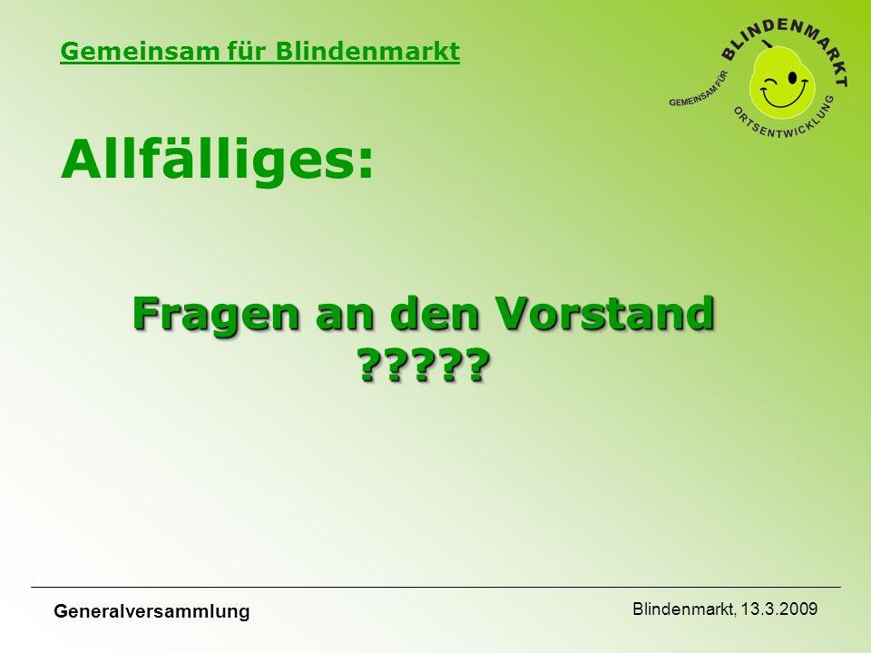 Gemeinsam für Blindenmarkt Generalversammlung Blindenmarkt, 13.3.2009 Fragen an den Vorstand ????.