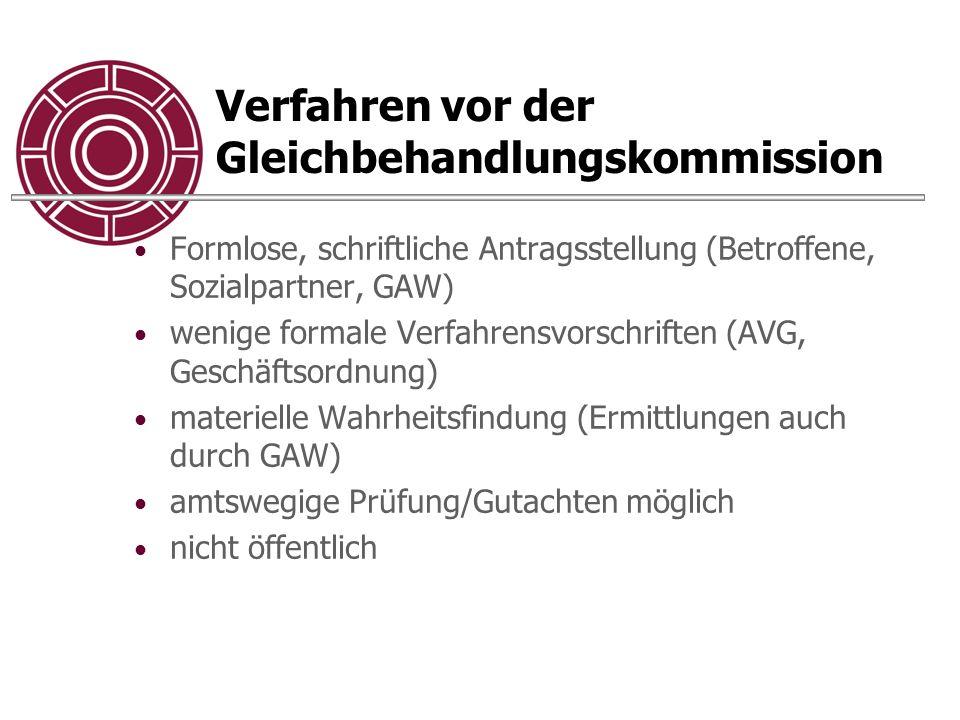 Verfahren vor der Gleichbehandlungskommission Formlose, schriftliche Antragsstellung (Betroffene, Sozialpartner, GAW) wenige formale Verfahrensvorschr