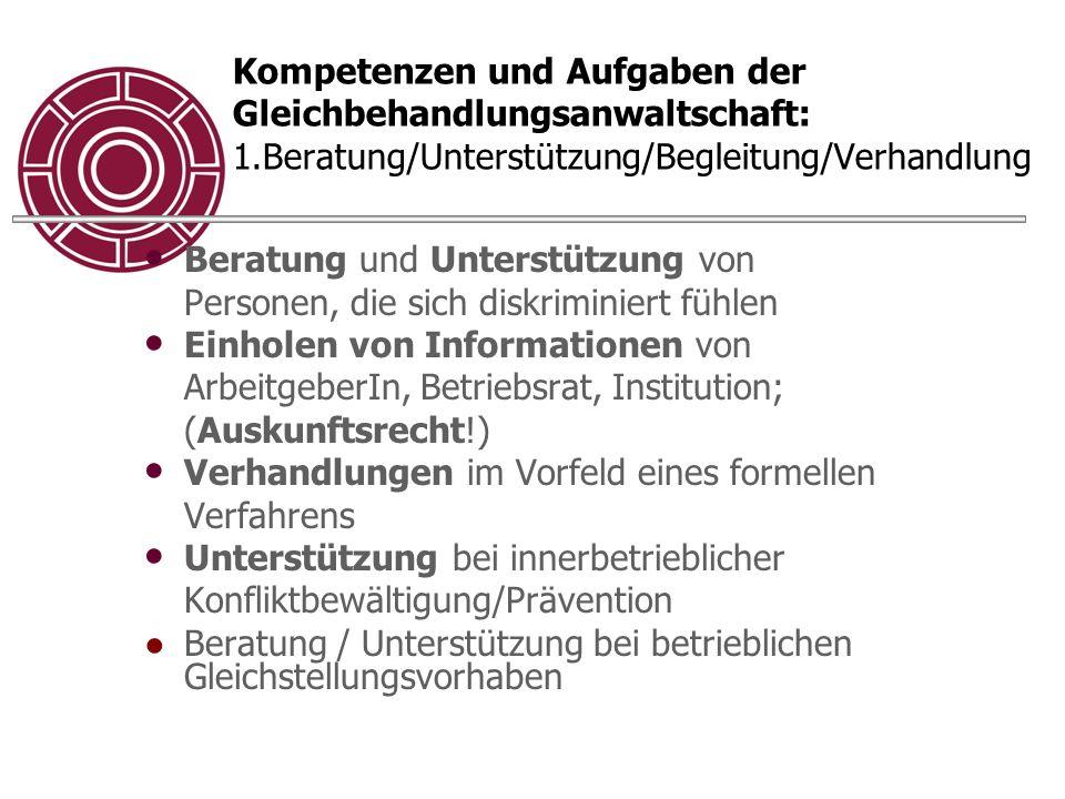Kompetenzen und Aufgaben der Gleichbehandlungsanwaltschaft: 1.Beratung/Unterstützung/Begleitung/Verhandlung Beratung und Unterstützung von Personen, d
