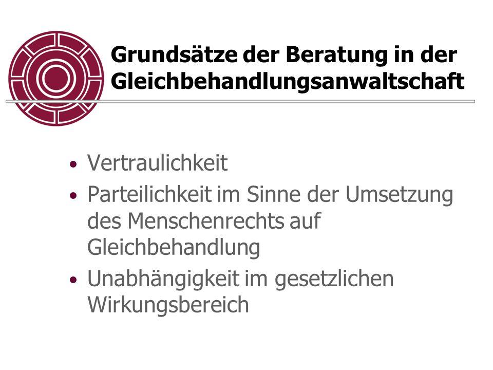 Grundsätze der Beratung in der Gleichbehandlungsanwaltschaft Vertraulichkeit Parteilichkeit im Sinne der Umsetzung des Menschenrechts auf Gleichbehandlung Unabhängigkeit im gesetzlichen Wirkungsbereich