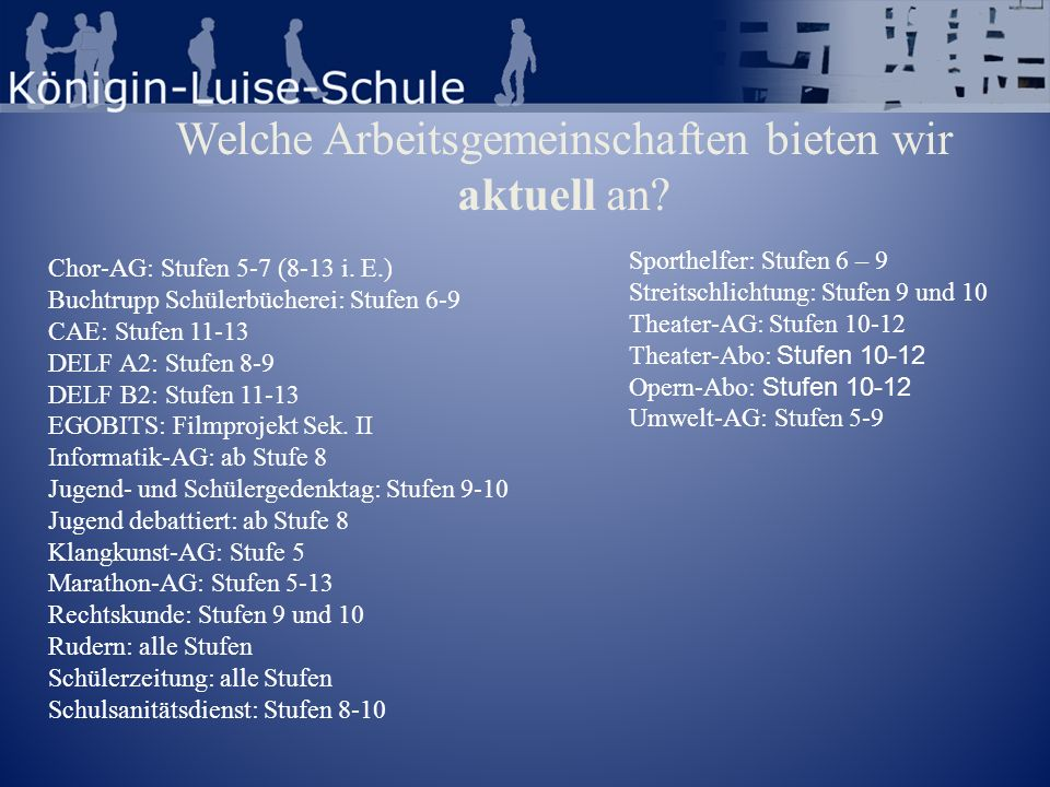 Welche Arbeitsgemeinschaften bieten wir aktuell an? Chor-AG: Stufen 5-7 (8-13 i. E.) Buchtrupp Schülerbücherei: Stufen 6-9 CAE: Stufen 11-13 DELF A2: