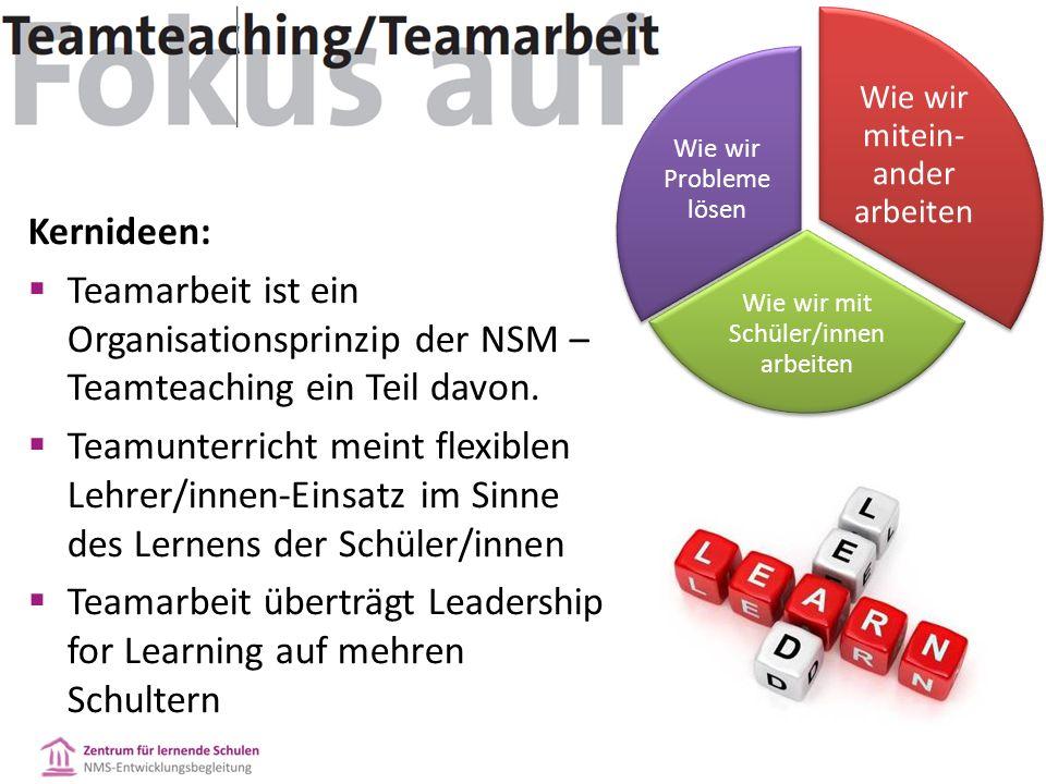 Kernideen:  Teamarbeit ist ein Organisationsprinzip der NSM – Teamteaching ein Teil davon.