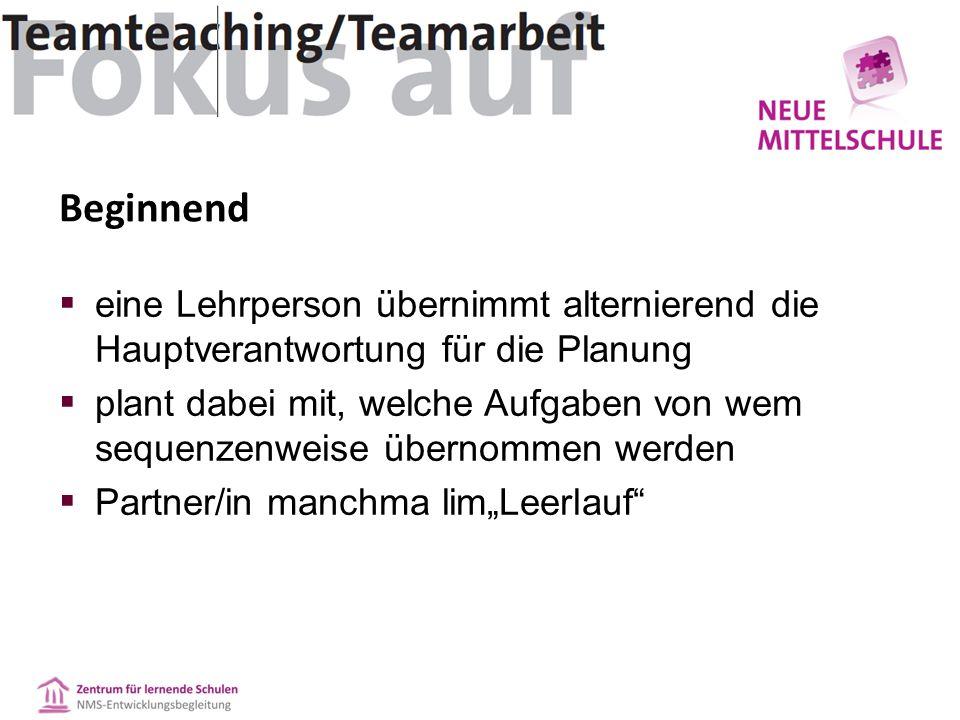 """Beginnend  eine Lehrperson übernimmt alternierend die Hauptverantwortung für die Planung  plant dabei mit, welche Aufgaben von wem sequenzenweise übernommen werden  Partner/in manchma lim""""Leerlauf"""