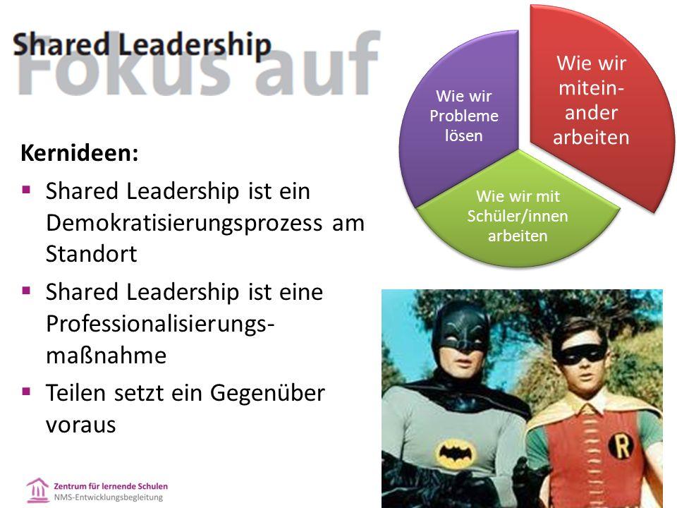 Kernideen:  Shared Leadership ist ein Demokratisierungsprozess am Standort  Shared Leadership ist eine Professionalisierungs- maßnahme  Teilen setzt ein Gegenüber voraus Wie wir mitein- ander arbeiten Wie wir mit Schüler/innen arbeiten Wie wir Probleme lösen