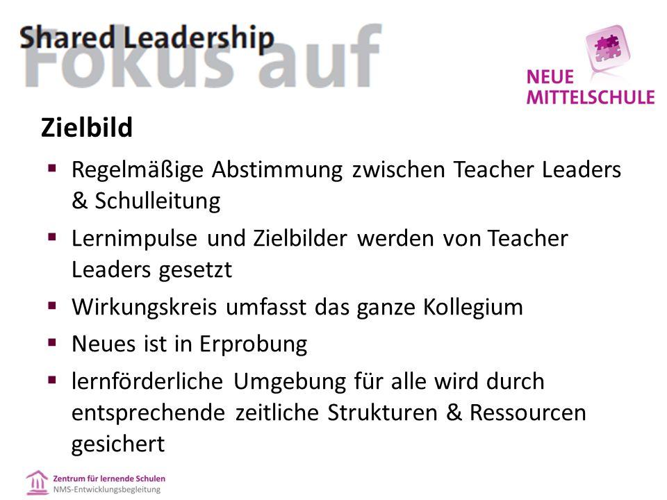 Zielbild  Regelmäßige Abstimmung zwischen Teacher Leaders & Schulleitung  Lernimpulse und Zielbilder werden von Teacher Leaders gesetzt  Wirkungskreis umfasst das ganze Kollegium  Neues ist in Erprobung  lernförderliche Umgebung für alle wird durch entsprechende zeitliche Strukturen & Ressourcen gesichert