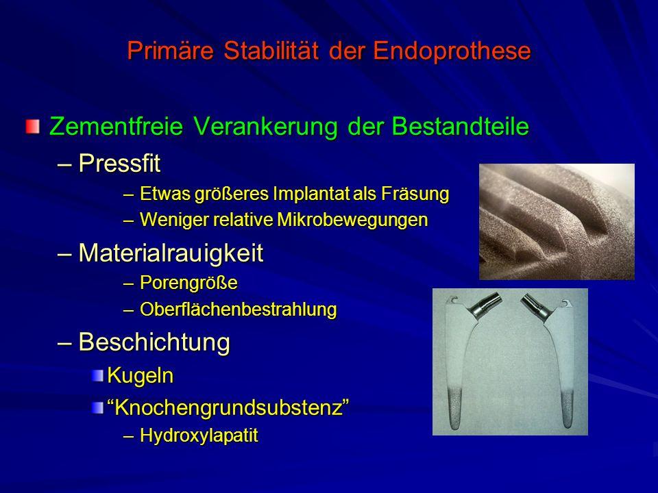 Primäre Stabilität der Endoprothese Zementfreie Verankerung der Bestandteile –Pressfit –Etwas größeres Implantat als Fräsung –Weniger relative Mikrobe