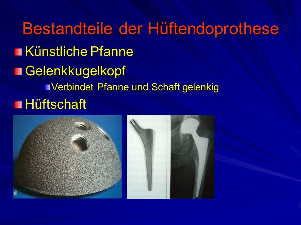 Hüftendoprothese Ziel –Verträglichkeit der verwendeten Materialien Keine giftige Wirkung der Komponenten –Titanlegierung –Chrom-Kobalt-Stahl Kein Abrieb im Gelenk (>1 mio.