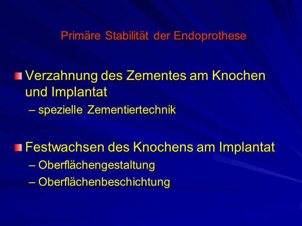Primäre Stabilität der Endoprothese Primäre Stabilität der Endoprothese Verzahnung des Zementes am Knochen und Implantat –spezielle Zementiertechnik F