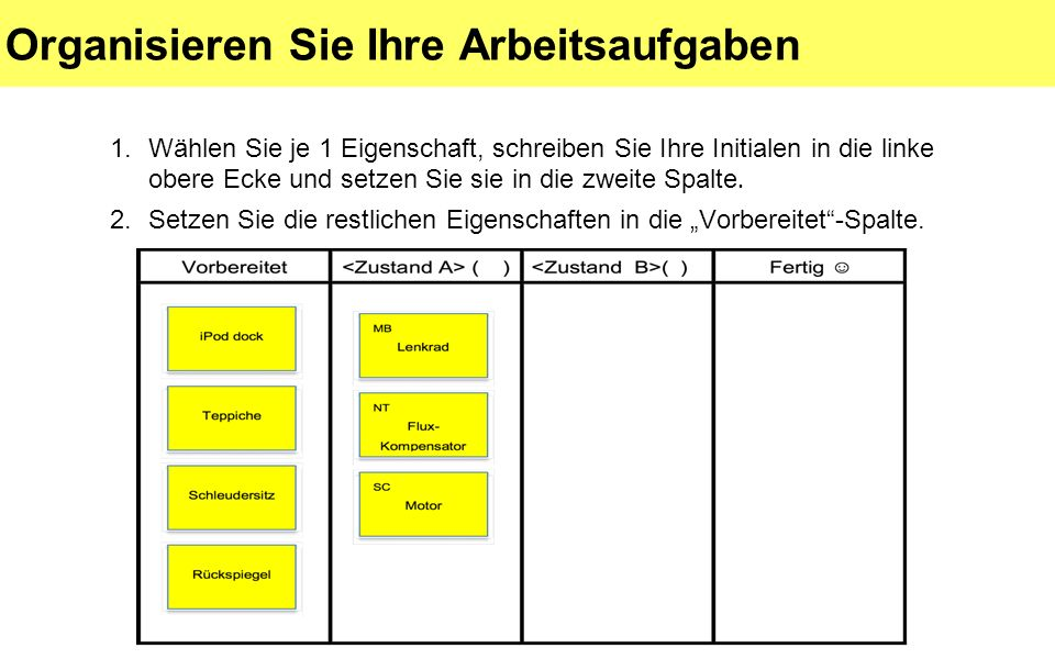 Organisieren Sie Ihre Arbeitsaufgaben 1.Wählen Sie je 1 Eigenschaft, schreiben Sie Ihre Initialen in die linke obere Ecke und setzen Sie sie in die zweite Spalte.