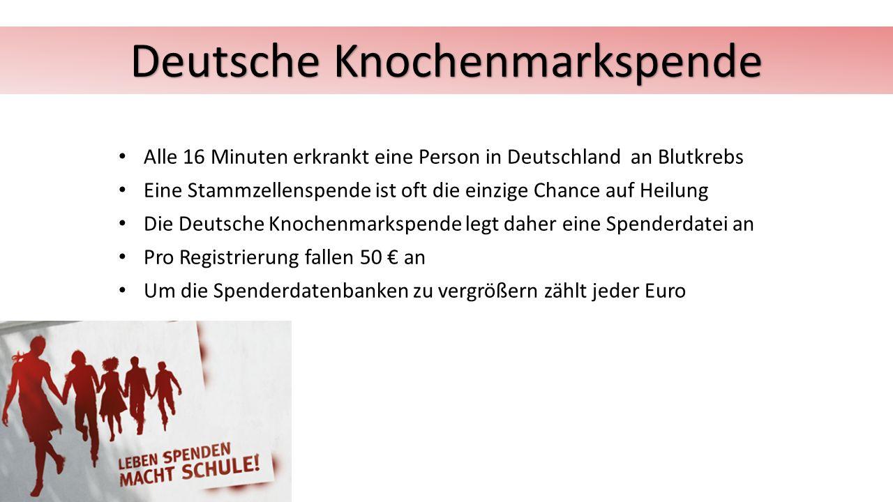 Alle 16 Minuten erkrankt eine Person in Deutschland an Blutkrebs Eine Stammzellenspende ist oft die einzige Chance auf Heilung Die Deutsche Knochenmarkspende legt daher eine Spenderdatei an Pro Registrierung fallen 50 € an Um die Spenderdatenbanken zu vergrößern zählt jeder Euro Deutsche Knochenmarkspende