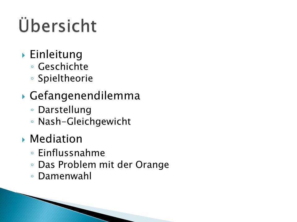  Einleitung ◦ Geschichte ◦ Spieltheorie  Gefangenendilemma ◦ Darstellung ◦ Nash-Gleichgewicht  Mediation ◦ Einflussnahme ◦ Das Problem mit der Orange ◦ Damenwahl